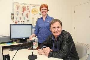 Fremantle Hospital Senior Speech Pathologist Gillian Penman (left) and Howard Sattler in a treatment room