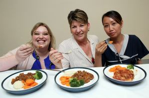 RGH Consultant Physician and Nephrologist Dr Angela Graves, Catering Coordinator Bronwyn Harris and student nurse Ni Perry taste the hospital food