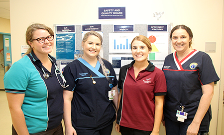 Group of multi-disciplinary staff on hospital ward